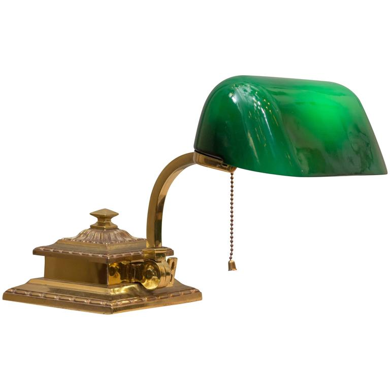 Emeralite Green Shade Bankers Lamp At 1stdibs