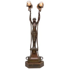 Vienna Secessionist Bronze Lamp, Maiden Holding Up two Flowers