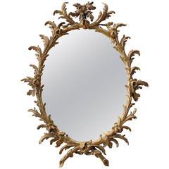 Good Quality English George II Rococo Gilt-Wood Oval Foliate-Carved Mirror