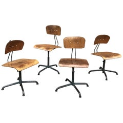 Set of Four Adjustable Shop Stools by Basler Eisenmöbelfabrik Sissach, BES