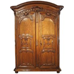"Early 1700s French Walnut Wood Chateau Armoire, ""The Order of Saint Louis"""