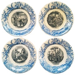 "French Set ""Talking Plates"", Signed Hippolyte Boulenger Choisy-le-Ro"