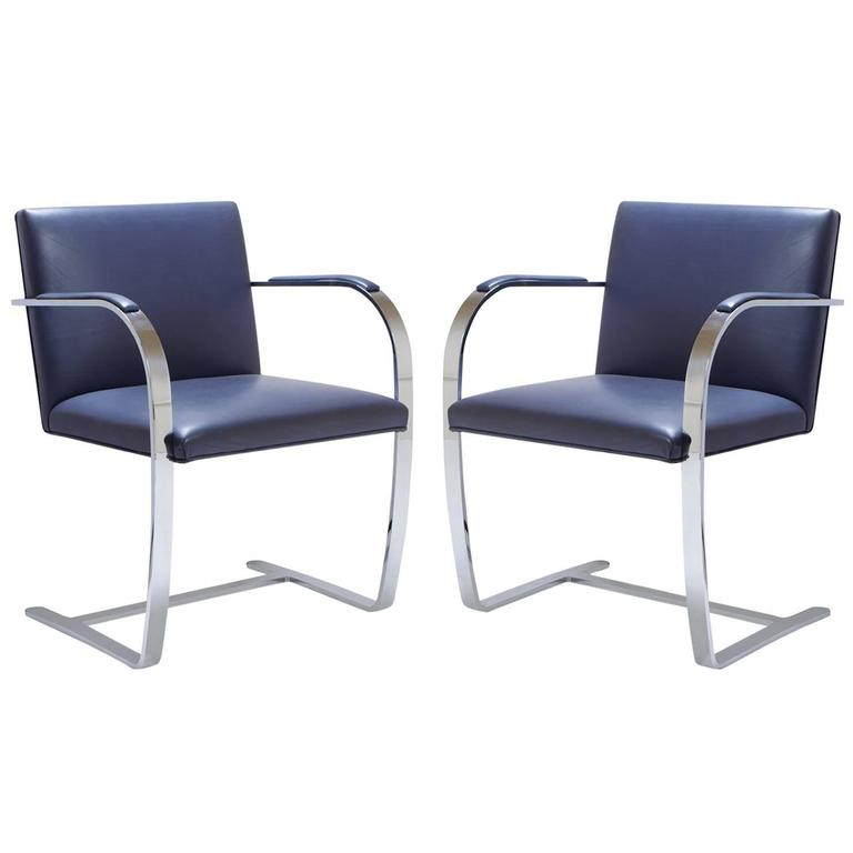 Mies Van Der Rohe for Knoll Brno Flat-Bar Chairs in Navy Leather, Pair 1