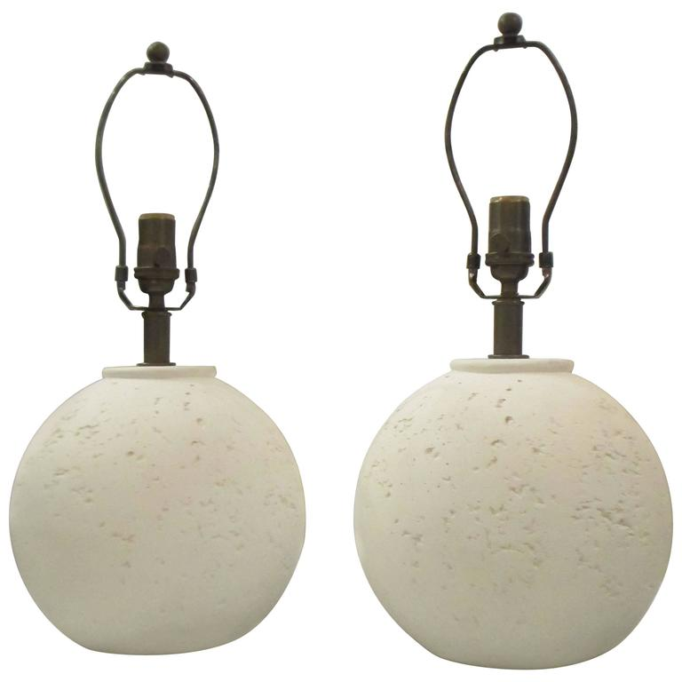 Pair of Textured Circular Plaster Lamps For Sale