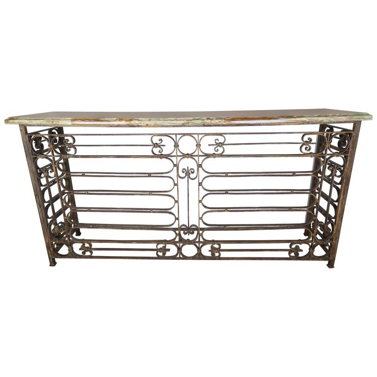 Monumental French Wrought Iron Console with Marble Top