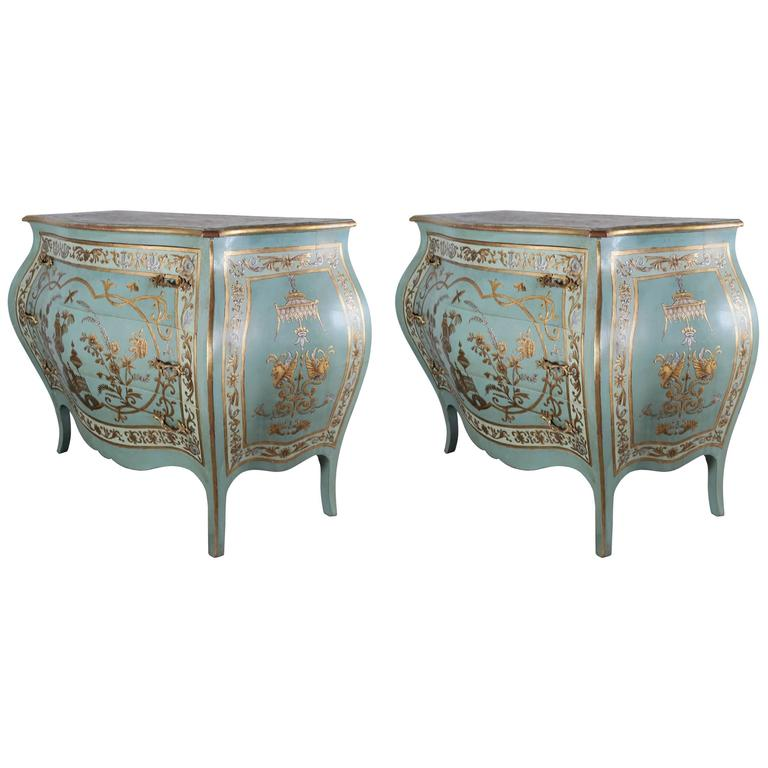 Pair of blue chinoiserie painted bombay commodes at 1stdibs for French furniture designers 20th century