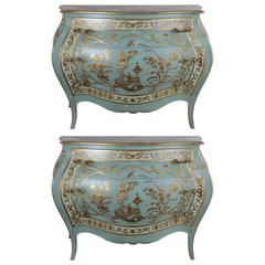 Pair of Blue Chinoiserie Painted Bombay Commodes