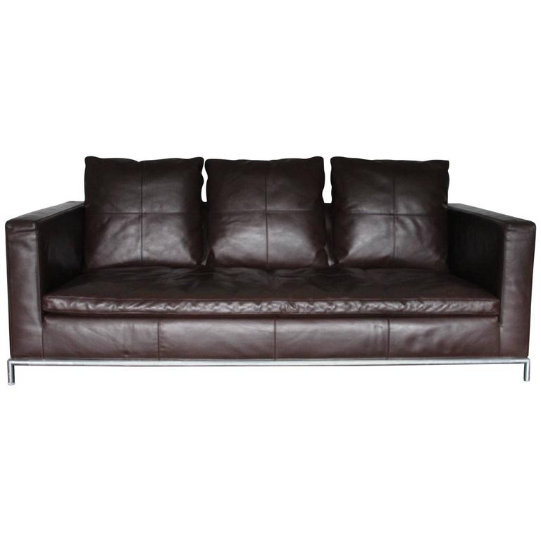 b and b italia george three seat sofa in dark brown leather by antonio citterio for sale at. Black Bedroom Furniture Sets. Home Design Ideas
