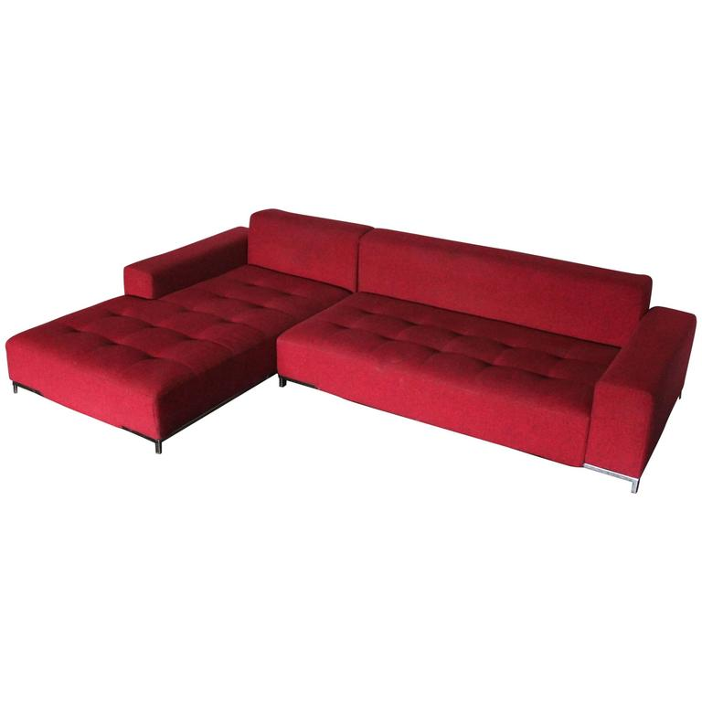 Zanotta Kilt 1242 L Shape Sofa In Woven Red And Black Fabric By