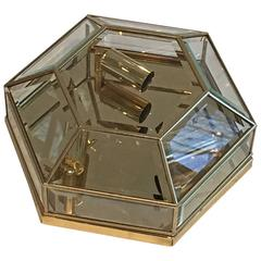Mid-Century Modernist Hexagonal Flush Mount Brass and Glass