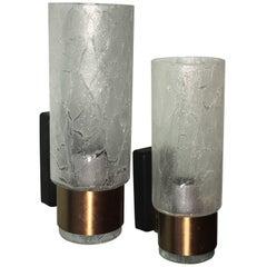 Pair of Doria Leuchten Modernist Glass Sconces