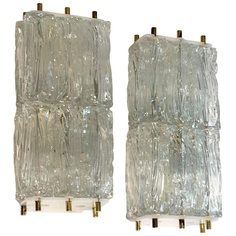 Lot of two Venini Style Sconces with Ice Block Glass For Sale at 1stdibs