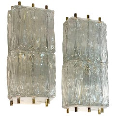 Lot of two Venini Style Sconces with Ice Block Glass