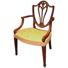Hepplewhite Period Well-Carved Mahogany Armchair