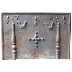 """18th Century French 'Pillars with Decoration"""" Fireback"""