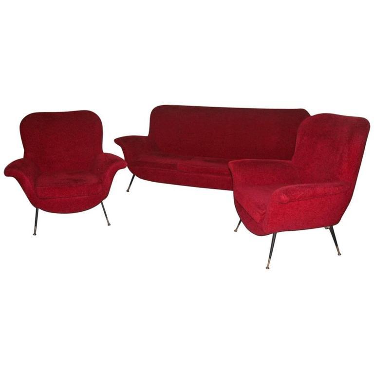 Mid-century Modern Living Room Sets Minotti Gigi Radice Italian Design 1950 Red