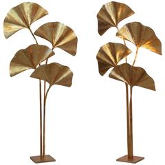 Pair of Ginkgo Leaf Floor Lamp Attributed to Tommaso Barbi, circa 1970