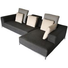 "B & B Italia ""George"" Compact L-Shape Sofa in Dark Grey Linen, Antonio Citterio"