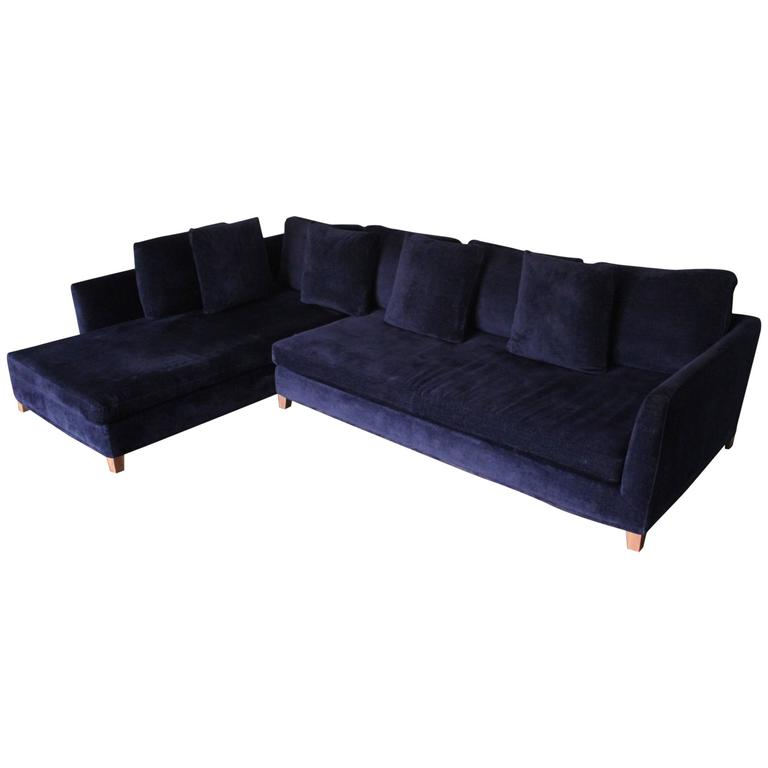 Flexform Victor Sectional L Shape Sofa In Navy Blue Velvet