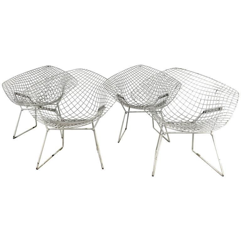 "Matched pair of ""Bertoia"" Diamond Chairs, Classic Modern, Harry Bertoia for Knol"
