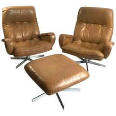 Pair of De Sede S231 James Bond Armchairs with Ottoman, 1960s
