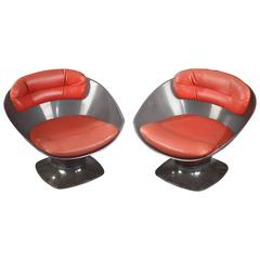Pair of Armchair in Lucite and Leather by Raphael Raffel