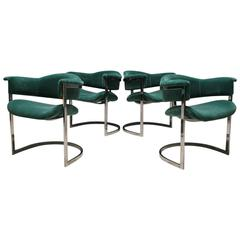 Set of Four Chrome Dining Chairs by Vittorio Introini for Saporiti, Italy, 1960