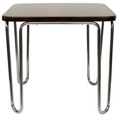 Thonet Chrome Table with Wood and Glass