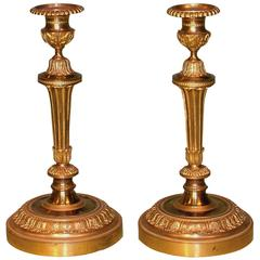 Pair of Mid-19th Century Louis XVI Style Ormolu Candlesticks
