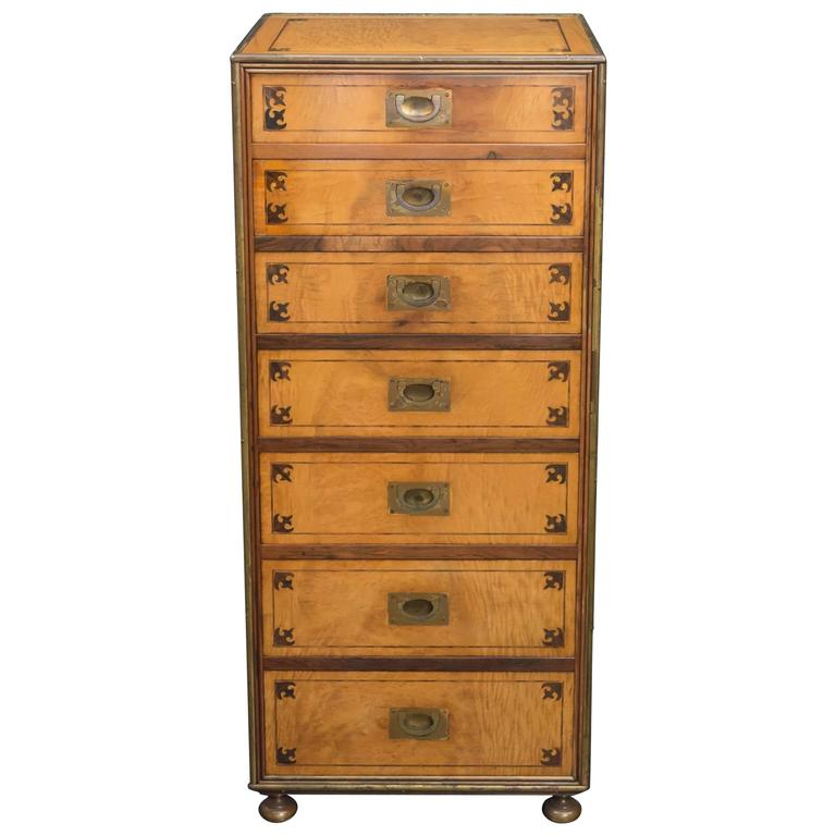 Satin Figured Birchwood Campaign Style Chest of Seven Drawers For Sale