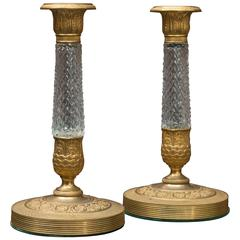Pair of Austrian Gilt Bronze and Cut Crystal Candlesticks, circa 1900