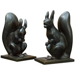 Animated Pair of Austrian Art Deco Bronze Squirrel Bookends, circa 1925