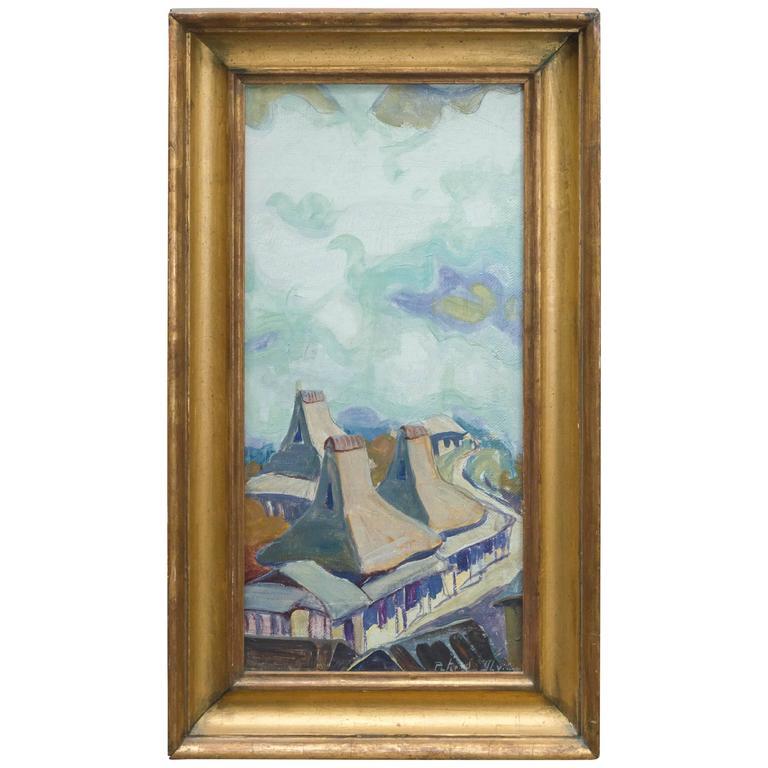 Oil on Board Roof Top Landscape by Peter Ilyin For Sale