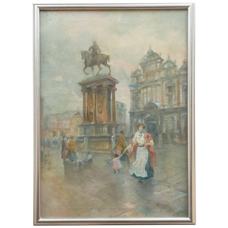 "Venetian Oil on Canvas, ""Campo S. Giovanni & Paolo Monumento Colleoni"" For Sale"