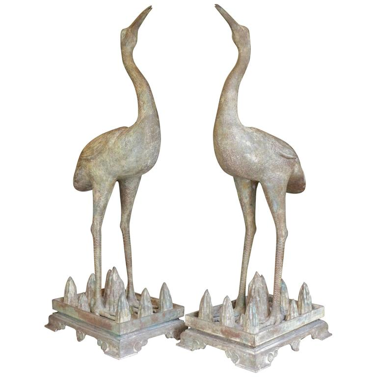 Pair of Chinese Bronze Cranes For Sale