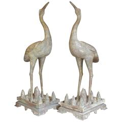 Pair of Chinese Bronze Cranes