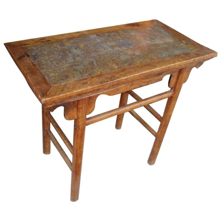 Chinese Antique Hardwood Wine Table with Rare Pudding Stone Inlay, Qing Dynasty For Sale
