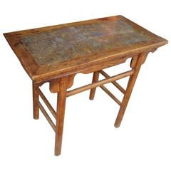 China Antique Hardwood Wine Table with Rare Pudding Stone Inlay, Qing Dynasty