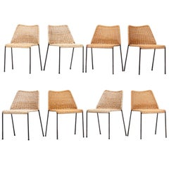 Set of Eight Herbert Hirche Chairs in Cane on Black Lacquered Metal Frame