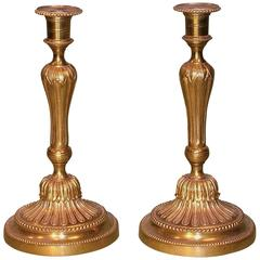 Antique Pair of French Mid-19th Century Ormolu Candlesticks