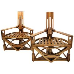 Spectacular Pair of Constructivist Chairs, 1980s