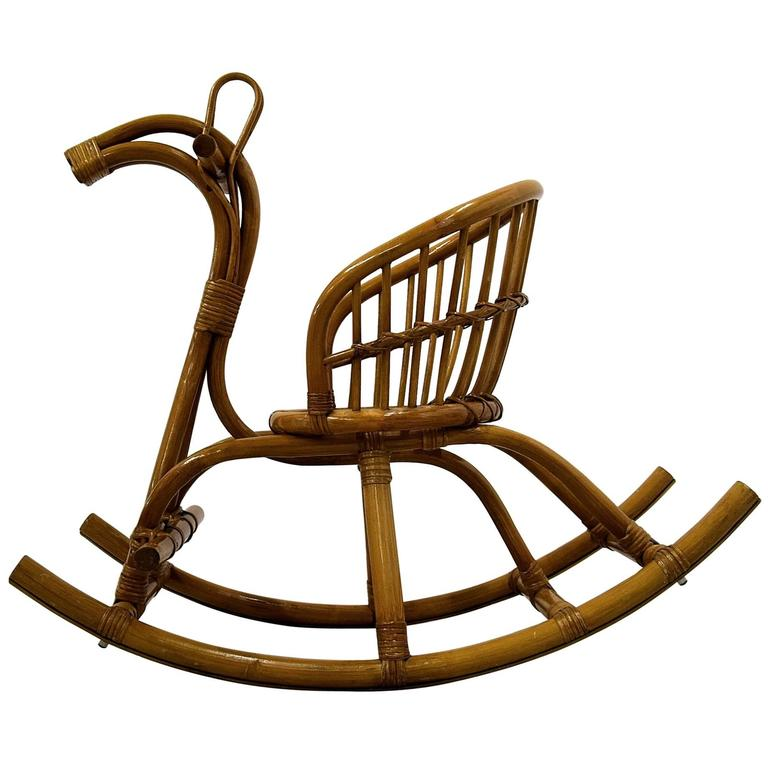 1960s Wicker and Bamboo Rocking Horse