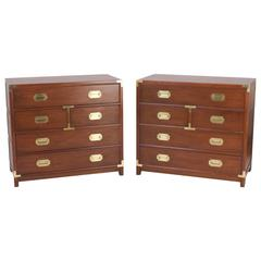Handsome Pair of Campaign Style Mahogany Chests