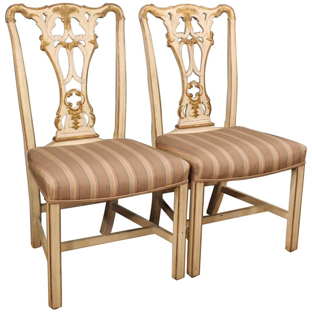 20th Century Pair of Lacquered Italian Chairs