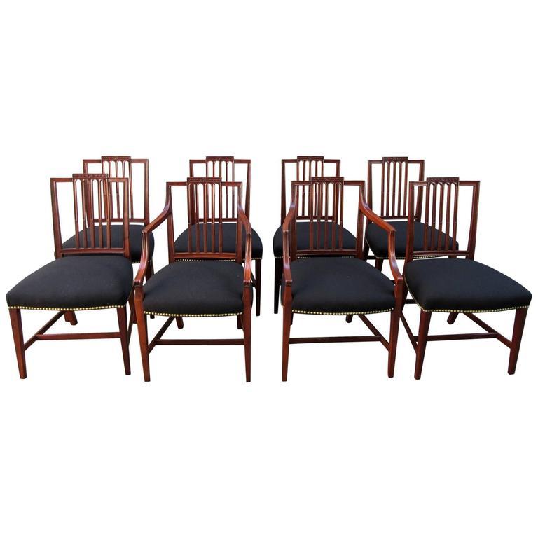 Set of Eight Late 18th Century English Hepplewhite Mahogany Dining Chairs