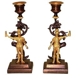Pair of 19th Century Bronze and Ormolu Knight Candlesticks