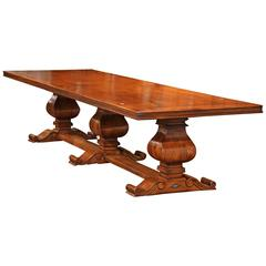 Monumental French Style Walnut Farm Table with Three Center Carved Legs