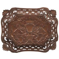 Antique French Copper Tray with Heraldic Lions, circa 1890