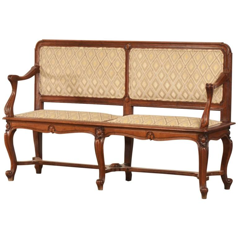 Antique French Art Nouveau Period Walnut Settee Bench Circa 1900 For Sale At 1stdibs