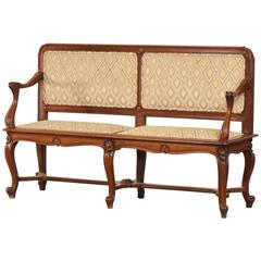 Antique French Art Nouveau Period Walnut Settee Bench, circa 1900